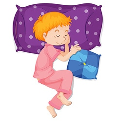 Boy in pink pajamas sleeping on purple pillow vector