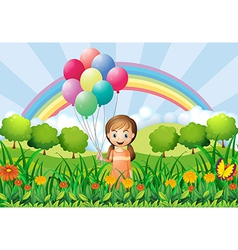 A girl with balloons vector image