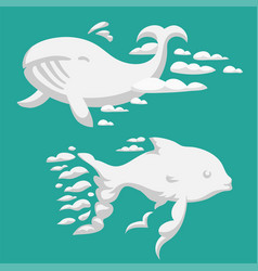 animal clouds silhouette whale pattern vector image