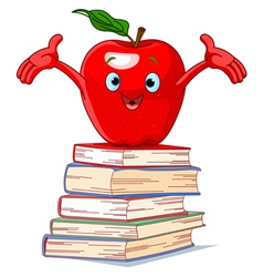 Apple character on pile of books vector image vector image