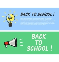 Back to school logo with light bulb and megaphone vector image vector image
