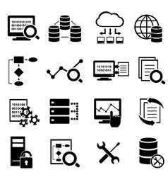 Big data cloud computing icons vector