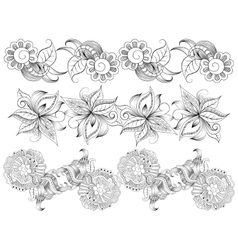 Borders with hand-drawing decorative elements vector image vector image