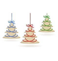 Cardboard x-mas tree set vector