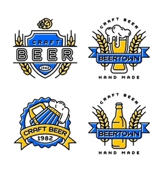 Craft beer bages set vector image