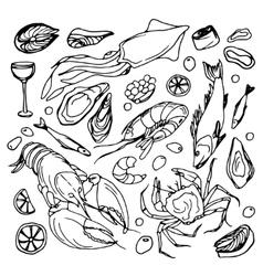 Doodle sea food vector image vector image