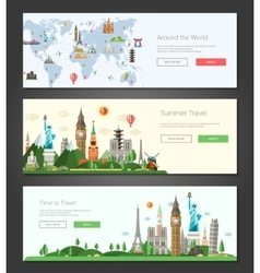 Flat design banners headers set with vector