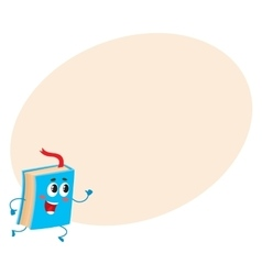 Funny book character running with bookmark ribbon vector