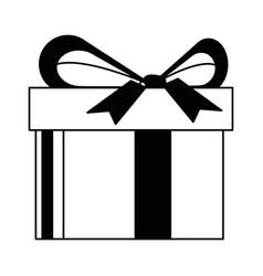 Gift box wrapped bow ribbon shopping vector