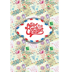 Greeting card with xmas stamps envelops labels vector