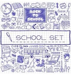 Hand drawn school icons set vector image vector image