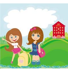 happy girls go to school vector image