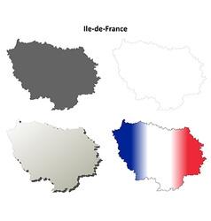 Ile-de-france blank detailed outline map set vector