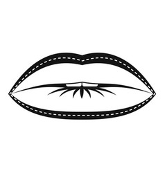 Lips with lines drawn around it icon simple style vector