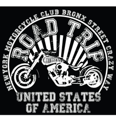 Motorcycle label t-shirt design with of custom cho vector