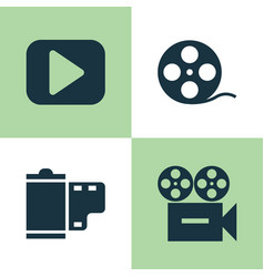 Music icons set collection of play video vector