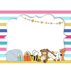 Pretty frame on color lines template for baby vector