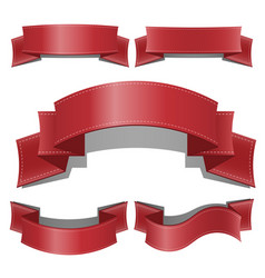 red glossy ribbon banners set web ribbons vector image vector image