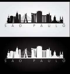 Sao paulo skyline and landmarks silhouette vector