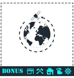 Satellite icon flat vector