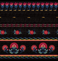 Seamless ethnic floral pattern red on black vector