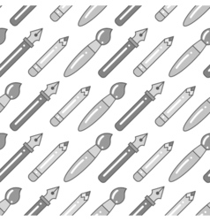 seamless grayscale pattern with pens brushes and vector image