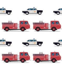 seamless pattern of the fire engine and police car vector image