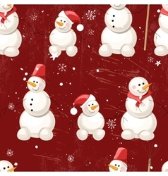 Seamless vintage dark red pattern with winter vector
