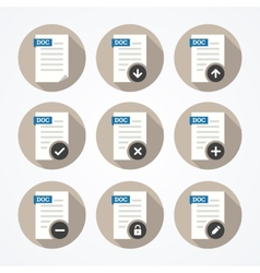 Set of doc file icons with long shadows vector image vector image