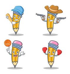 Set of pencil character with baseball cowboy vector