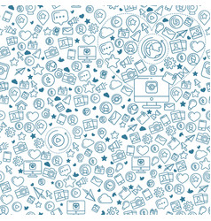 social media blue seamless pattern vector image vector image