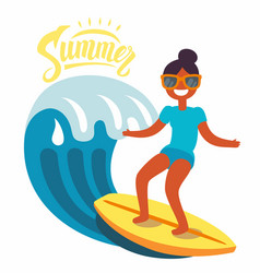 Surfer girl rides the waves vector