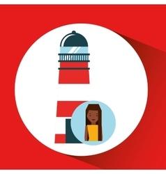Tourist girl cartoon lighthouse design graphic vector