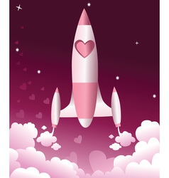 Valentine love rocket vector