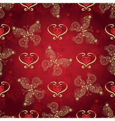 Valentine seamless dark red pattern vector image vector image