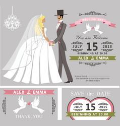 wedding invitation setretro cartoon bride and vector image vector image