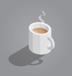 White cup of coffee on gray background isometric vector