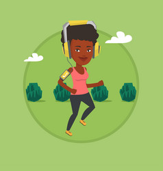 woman running with earphones and smartphone vector image
