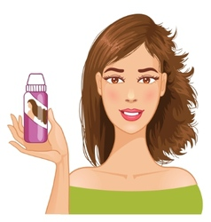 Young woman shows effect of shampoo vector image vector image