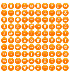 100 logistics icons set orange vector