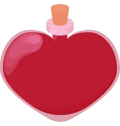 Pink glossy heart shape bottle of love potion vector