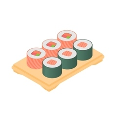 Sushi on tray icon cartoon style vector