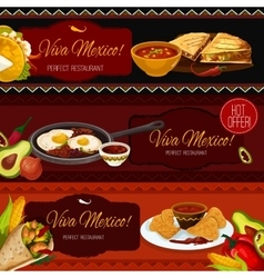 Mexican cuisine restaurant banners with spicy food vector