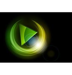 neon dark round green vector image