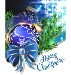 Blue bow and christmas bauble vector