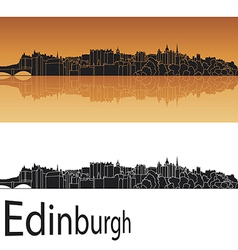 Edinburgh skyline in orange background vector