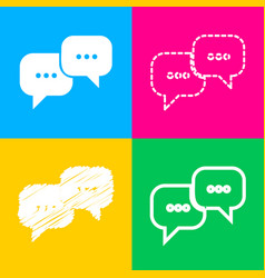 Speech bubbles sign four styles of icon on four vector