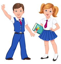 School boy girl book vector