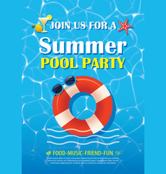 Pool party invitation poster with blue water vector