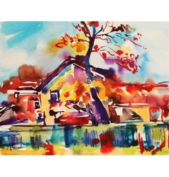 Original watercolor abstract rural landscape vector